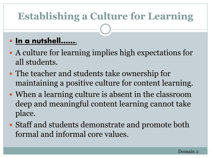 Establishing a Culture for Learning