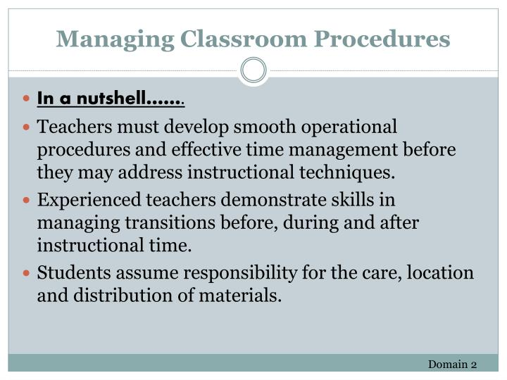 Managing Classroom Procedures