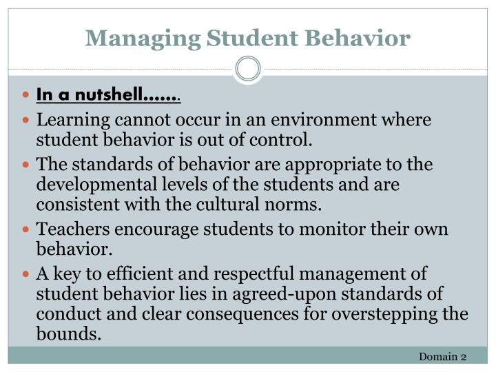 Managing Student Behavior