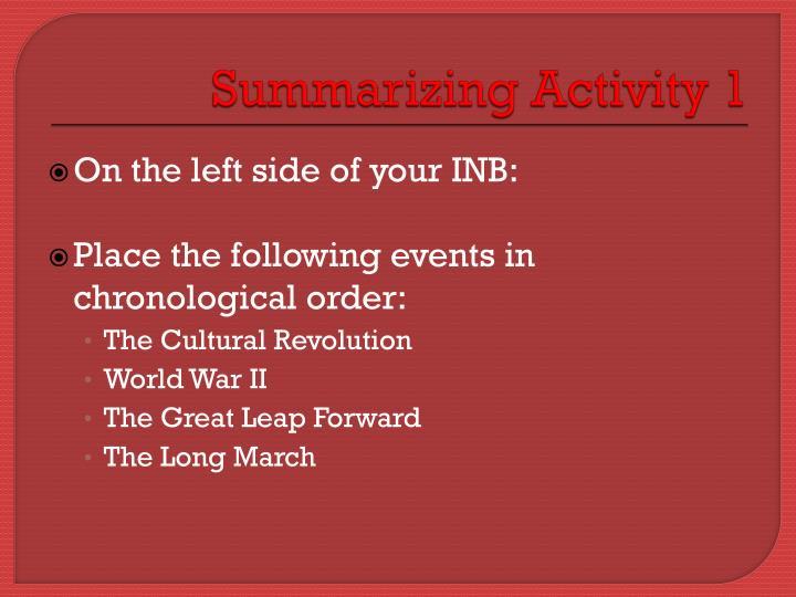 Summarizing Activity 1