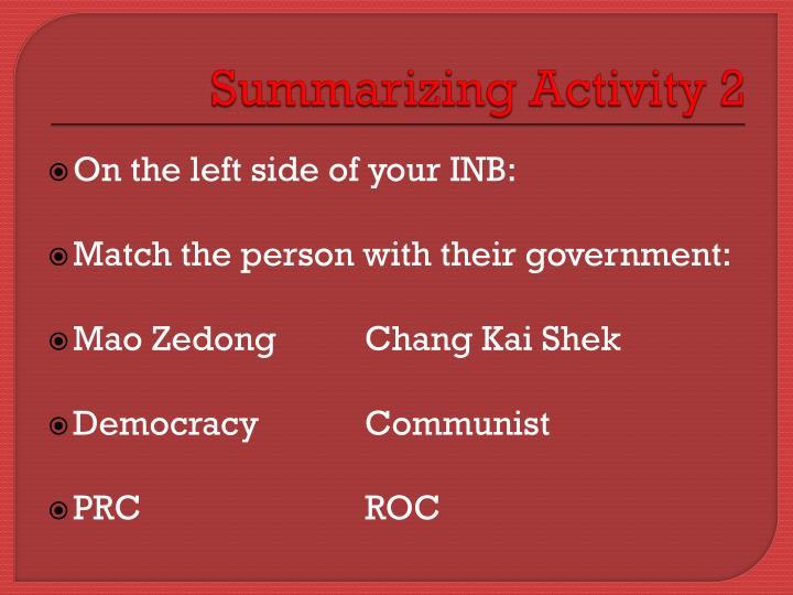 Summarizing Activity 2