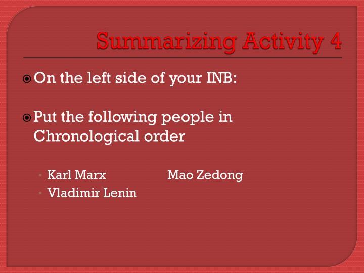 Summarizing Activity 4