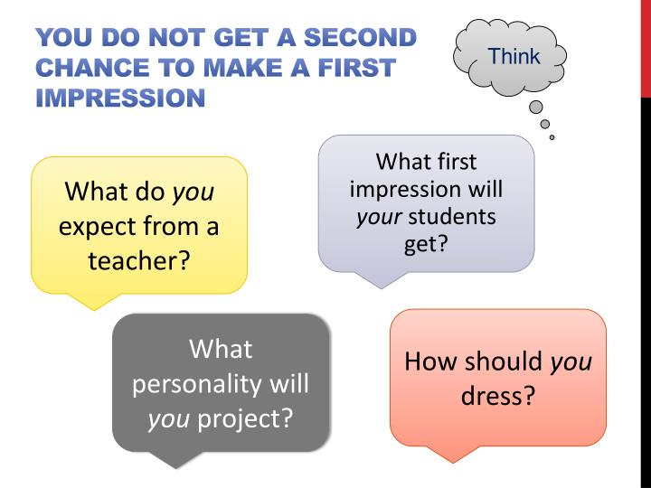 You do not get a second chance to make a first impression