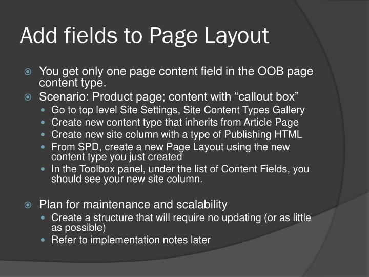 Add fields to Page Layout