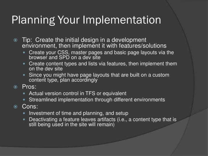 Planning Your Implementation