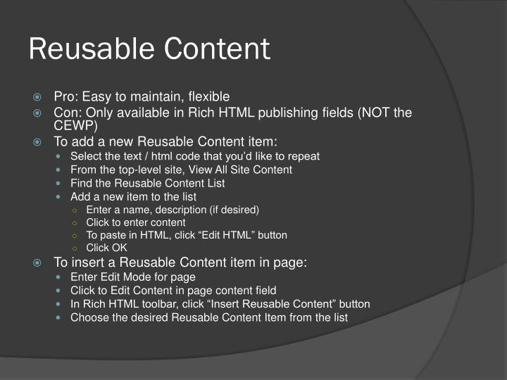 Reusable Content