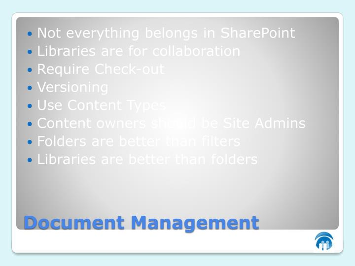 Not everything belongs in SharePoint