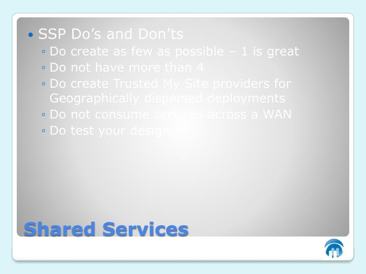 SSP Do's and Don'ts