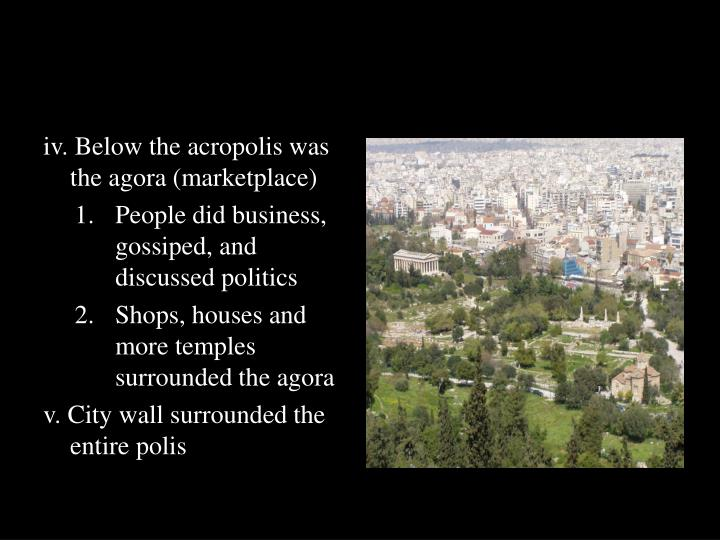 iv. Below the acropolis was the agora (marketplace)