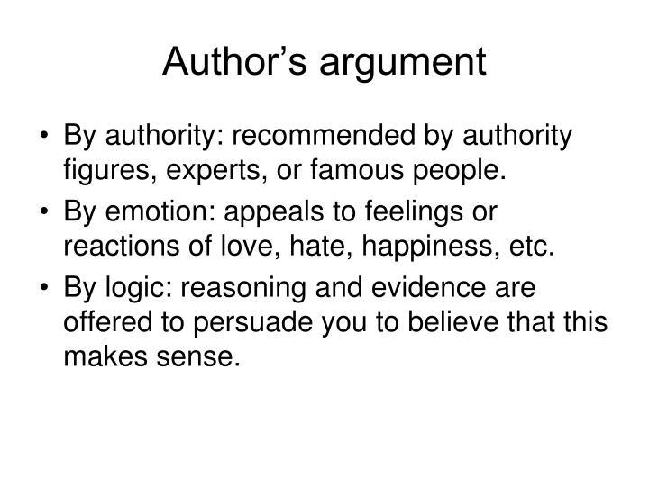 Author's argument