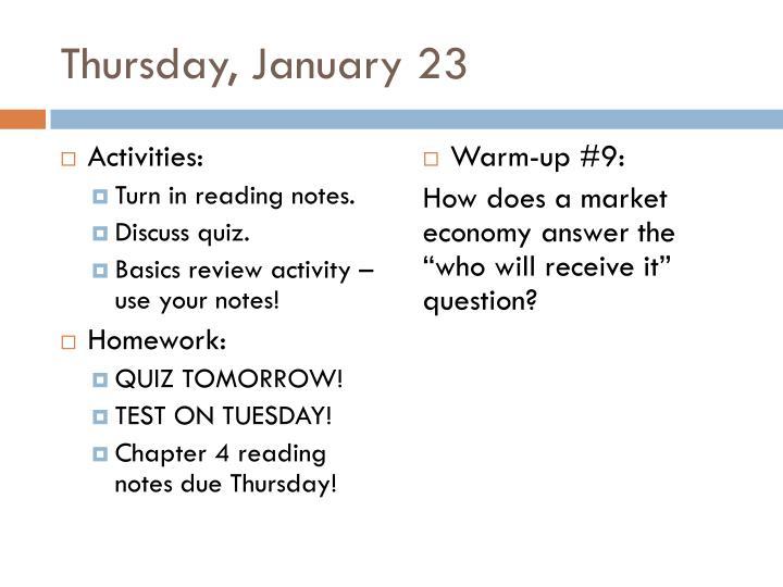 Thursday, January 23