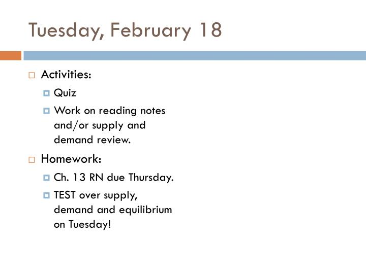 Tuesday, February 18