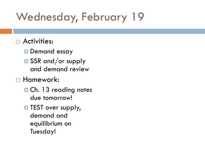 Wednesday, February 19