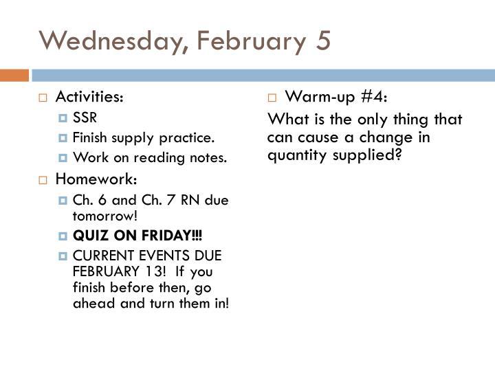 Wednesday, February 5