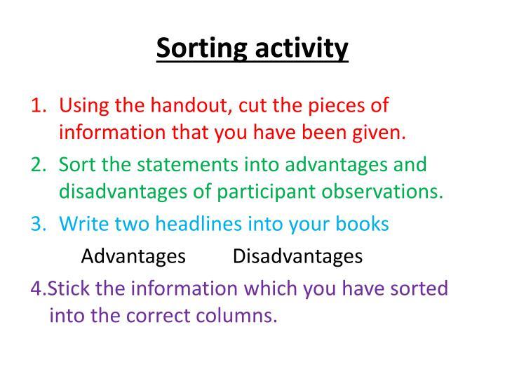 Sorting activity