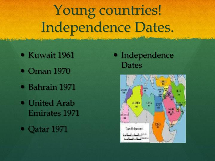 Young countries! Independence Dates.