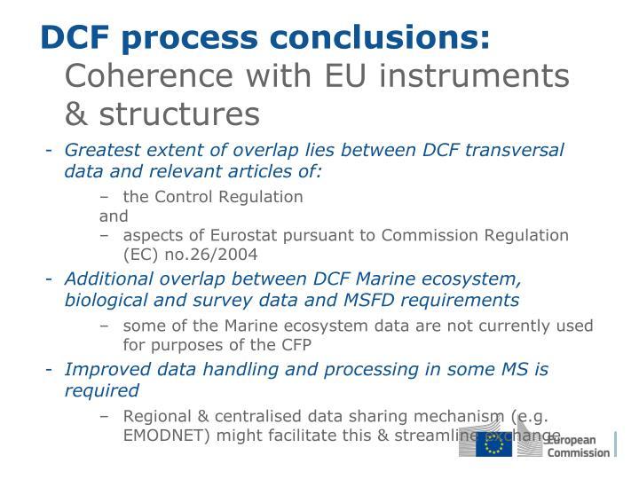 DCF process conclusions: