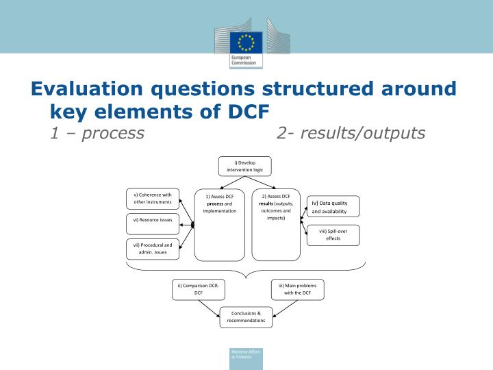 Evaluation questions structured around key elements of DCF