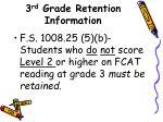 3 rd grade retention information