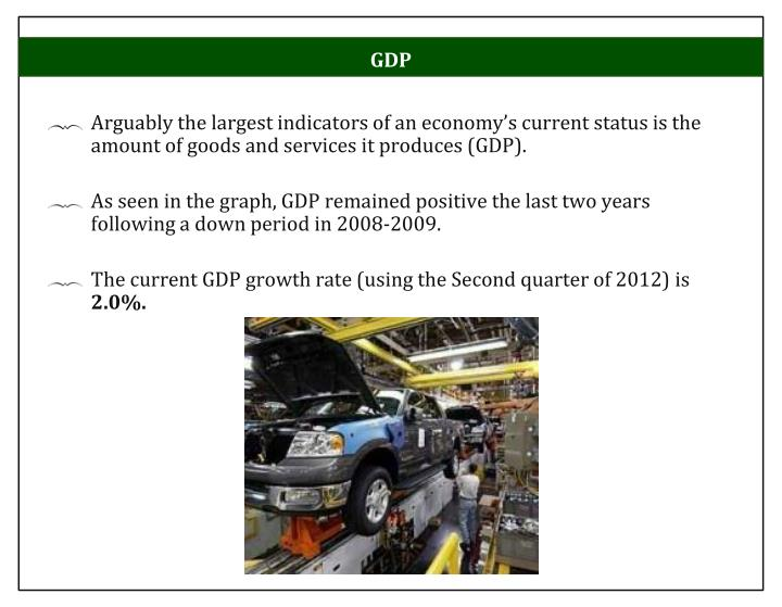 Arguably the largest indicators of an economy's current status is the amount of goods and services it produces (GDP).