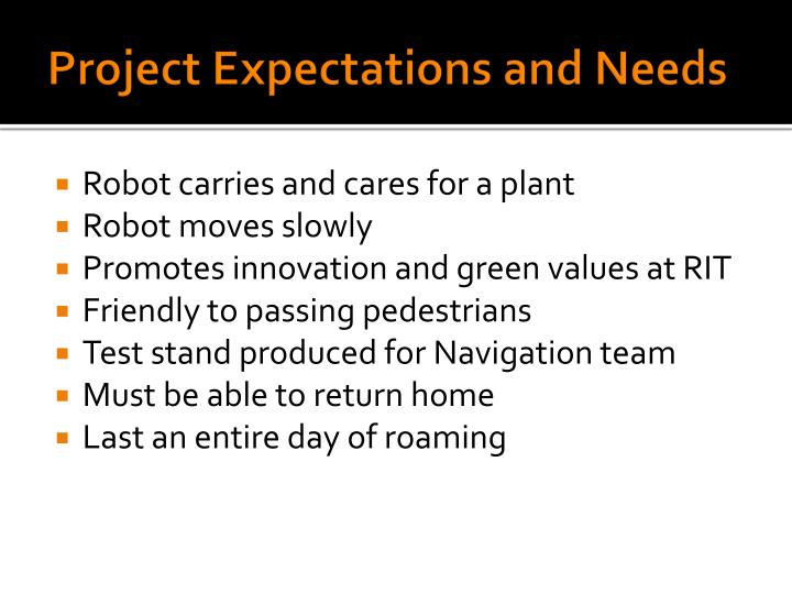 Project expectations and needs