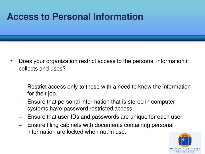 Access to Personal Information