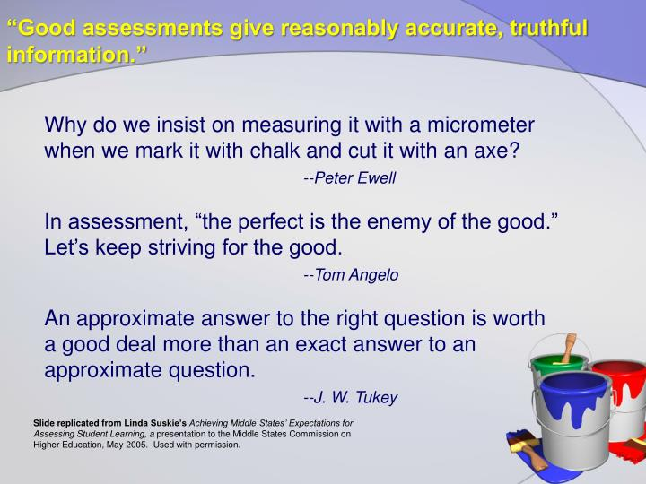 """Good assessments give reasonably accurate, truthful information."""