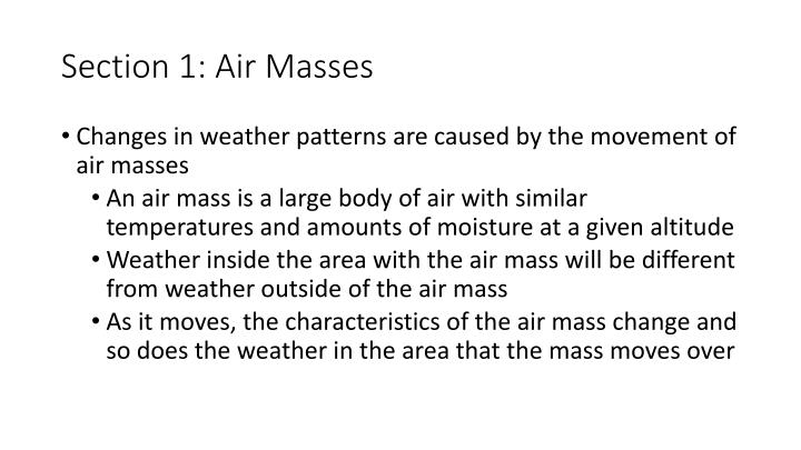 Section 1: Air Masses