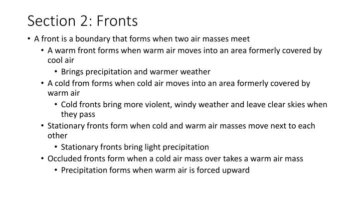 Section 2: Fronts