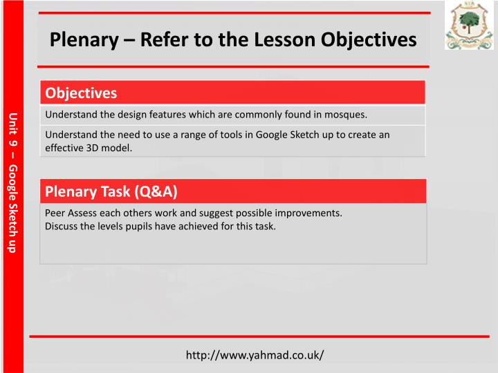 Plenary – Refer to the Lesson Objectives