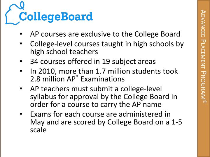 AP courses are exclusive to the College Board