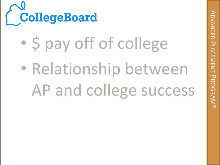 $ pay off of college