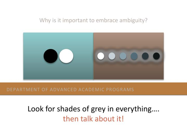 Why is it important to embrace ambiguity?