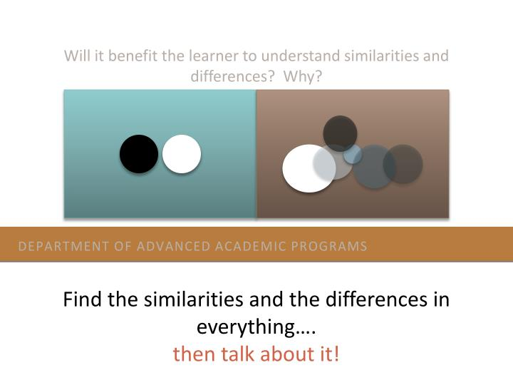 Will it benefit the learner to understand similarities and differences?  Why?