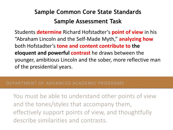 Sample Common Core State Standards