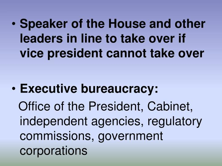 Speaker of the House and other leaders in line to take over if vice president cannot take over