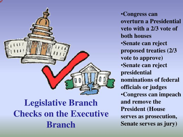 Congress can overturn a Presidential veto with a 2/3 vote of both houses