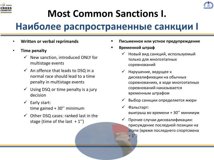 Most Common Sanctions I.