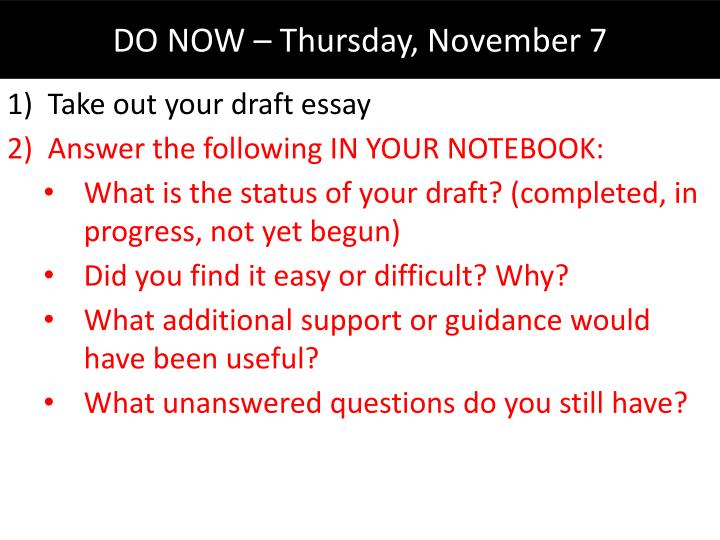 Take out your draft essay