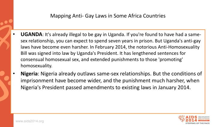 Mapping Anti- Gay Laws in Some Africa Countries
