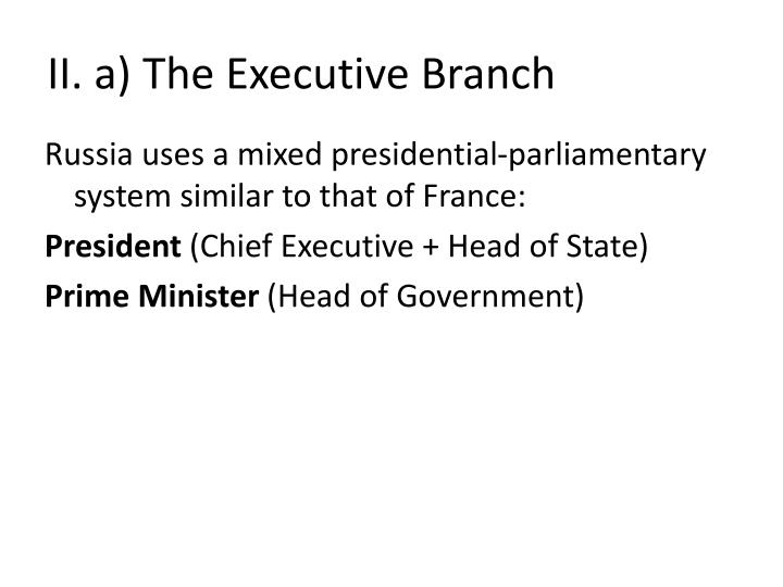 II. a) The Executive Branch