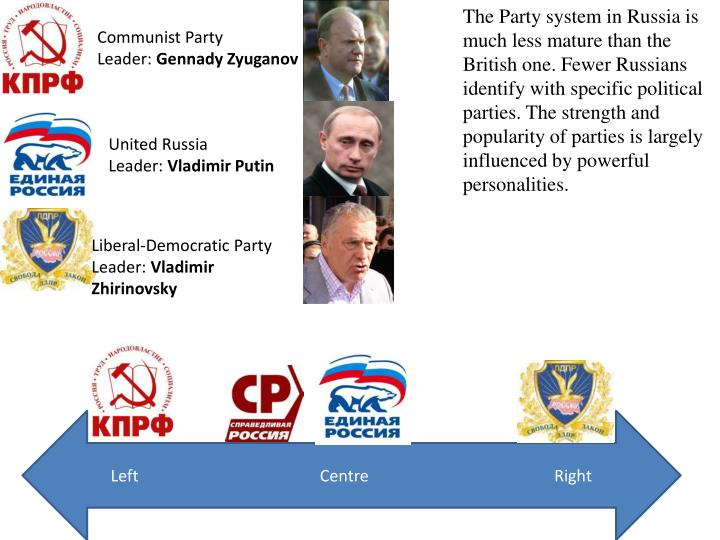 The Party system in Russia is much less mature than the British one. Fewer Russians identify with specific political parties. The strength and popularity of parties is largely influenced by powerful personalities.
