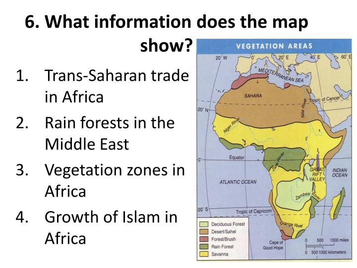 6. What information does the map