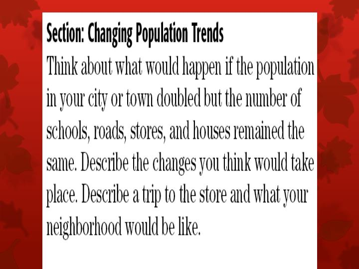 Changing population trends