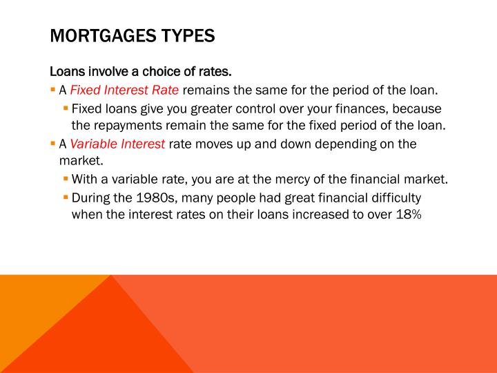 Mortgages types