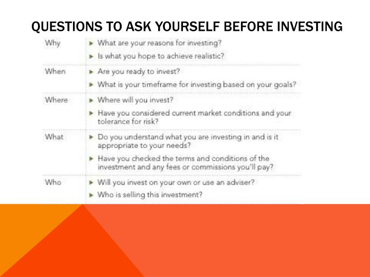 Questions to ask yourself before investing