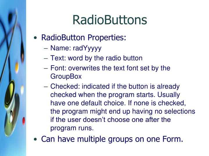 RadioButtons