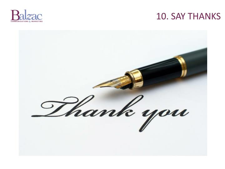 10. Say thanks