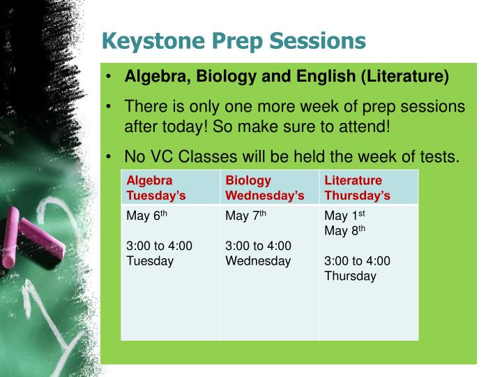 Keystone prep sessions