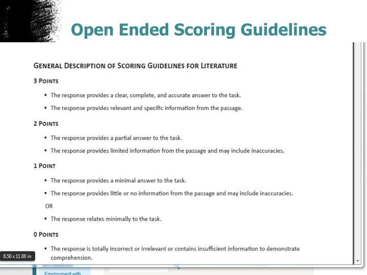 Open Ended Scoring Guidelines